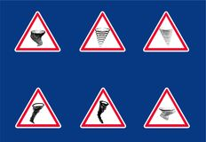 Segni del pericolo di tornado illustrazione vettoriale