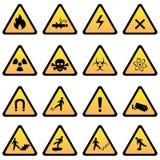 Segni del pericolo e di avvertimento Fotografia Stock Libera da Diritti