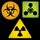 Segni del rischio biologico e radioattivo del prodotto chimico, illustrazione vettoriale