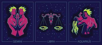 Segni dell'aria dello zodiaco Gemelli, Bilancia, acquario Fotografie Stock