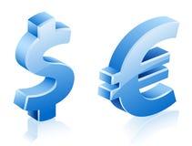 Segni dell'euro del dollaro Fotografie Stock