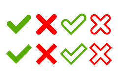 Segni dell'incrocio e del segno di spunta semplici Immagini Stock