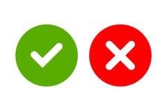 Segni dell'incrocio e del segno di spunta semplici Immagine Stock Libera da Diritti