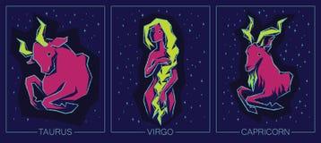 Segni della terra dello zodiaco Toro, Vergine, capricorno Immagini Stock Libere da Diritti