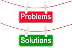 Segni delle soluzioni e di problemi Fotografia Stock