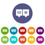 Segni dello sì e di nessun icone dell'insieme Fotografia Stock Libera da Diritti