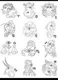 Segni dello zodiaco dell'oroscopo di fantasia royalty illustrazione gratis