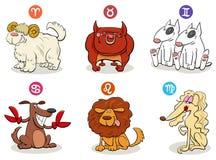 Segni dello zodiaco dell'oroscopo messi con i caratteri del cane royalty illustrazione gratis