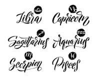 Segni dello zodiaco di calligrafia messi Simboli disegnati a mano di astrologia dell'oroscopo, progettazione di struttura di lerc Immagine Stock
