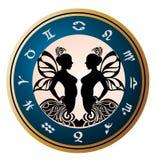 Segni dello zodiaco - Gemini. Disegno del tatuaggio. Immagine Stock Libera da Diritti