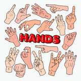 Segni di Art Male Hands Gesturing Different di schiocco royalty illustrazione gratis