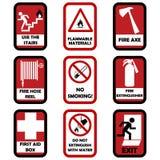 Segni di avvertenza del fuoco Fotografie Stock Libere da Diritti