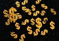 Segni di caduta del dollaro dell'oro Fotografia Stock