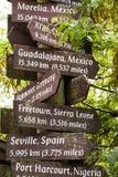 Segni di destinazione di viaggio fotografia stock