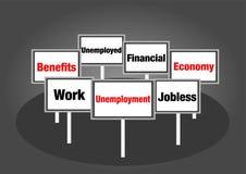 Segni di disoccupazione Fotografia Stock Libera da Diritti