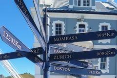 Segni di distanza di Città del Capo Immagine Stock Libera da Diritti