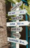 Segni di distanza in miglia Fotografia Stock Libera da Diritti