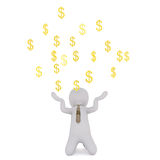 Segni di Juggling Gold Dollar dell'uomo d'affari del fumetto Immagine Stock Libera da Diritti