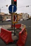 Segni di lavori stradali Fotografia Stock