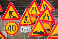Segni di lavoro stradale Fotografia Stock