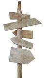 Segni di legno approssimativi sull'alberino Immagine Stock