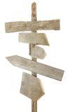 Segni di legno approssimativi sull'alberino Fotografia Stock