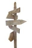 Segni di legno approssimativi sull'alberino Fotografie Stock