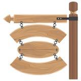 Segni di legno d'attaccatura messi allegati al bastone lungo illustrazione di stock