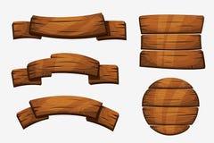 Segni di legno della plancia del fumetto Elementi di legno di vettore dell'insegna su fondo bianco