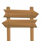 Segni di legno, isolati su fondo bianco Fotografie Stock
