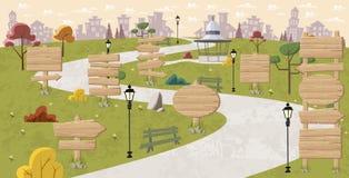 Segni di legno sul parco Fotografie Stock Libere da Diritti