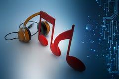 Segni di musica con il telefono capo Fotografia Stock Libera da Diritti
