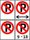 Segni di nessuna limitazione parcheggio/di parcheggio Immagine Stock