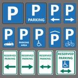 Segni di parcheggio Fotografia Stock