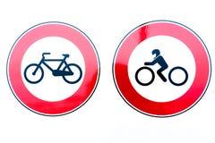 Segni di proibizione della motocicletta e della bici fotografia stock