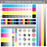 Segni di raccolto di stampa di calibratura Documento di vettore della prova di colore di CMYK illustrazione vettoriale
