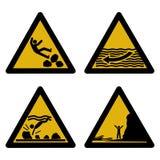 Segni di rischio Assorted della spiaggia Fotografia Stock