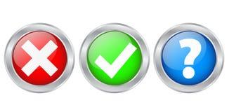 Segni di spunta & icone d'argento dei bottoni di informazioni, ill di riserva di vettore Fotografia Stock