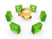 Segni di spunta intorno al segno dell'euro. Fotografie Stock