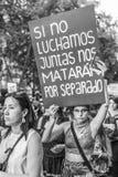 Segni di trasporto dei dimostranti della donna alle vie del centro urbano di Santiago de Chile fotografie stock libere da diritti