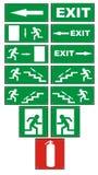 Segni di uscita d'emergenza di emergenza Fotografie Stock