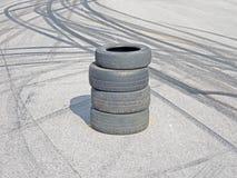 Segni di ustione e dell'asfalto Fotografie Stock