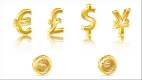 segni di valuta dorati 3D Immagine Stock