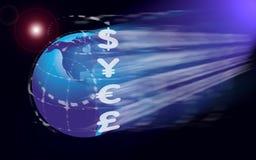 Segni di valuta globali Fotografia Stock