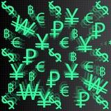 Segni di valuta su un fondo scuro Fotografia Stock