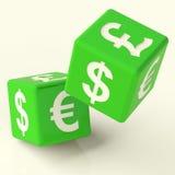 Segni di valuta sui dadi Immagine Stock Libera da Diritti