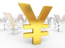 Segni di Yen del Giappone dell'argento e dell'oro Immagine Stock Libera da Diritti