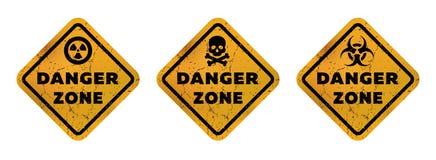 Segni di zona pericolosa, radiazione, tossicità ed illustrazione mortale di vettore del pericolo illustrazione di stock