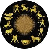 Segni dorati dello zodiaco Fotografia Stock