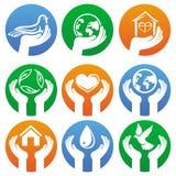 Segni e logos di carità di vettore Immagini Stock Libere da Diritti